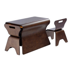 bloom - Otto Kids Table and Chair Set - Features: -Otto collection. -Formed of cultivated Style wood. -Ergonomic table and chair set. -Chairs nest with table to save space when table is not in use. -When the chairs are nested, the set can be used as an attractive side or coffee table. -Table features 2 sliding trays in Orange for art supplies and other treasures. -Wipes clean. -Supports up to 550 lbs.