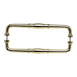 """Top Knobs - Normandy Back to Back Door Pull - Polished Brass - Length - 12 7/8"""", Width - 1 1/8"""", Projection - 2 1/4"""", Center to Center - 12"""", Base Diameter - 1"""""""