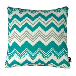 Lava - Zig Zag Teal 18 x 18 Pillow (Indoor/Outdoor) - 100% polyester cover and fill. Made in USA. Spot clean only. Safe for use indoors or out.