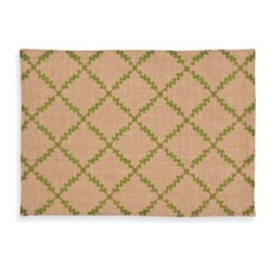 Ecoaccents - ecoaccents Trellis Burlap Placemat in Green - Add a little eco-chic style to your table! This placemat has a classic leaf trellis pattern and is made from biodegradable burlap that feels like linen. Topstitched for a clean finish, they convey a refined and casual ambience.