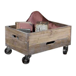 Uttermost Stratford Reclaimed Wood Rolling Box - Weathered, reclaimed fir wood, sanded and sealed with a light gray wash on black, metal swivel casters. Weathered, reclaimed fir wood sanded and sealed with a light gray wash.