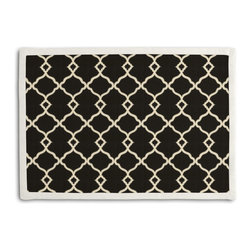 Black Classic Trellis Tailored Placemat Set - Class up your table's act with a set of Tailored Placemats finished with a contemporary contrast border. So pretty you'll want to leave them out well beyond dinner time! We love it in this small classic cream trellis on flooded black cotton sateen.