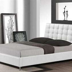Wholesale Interiors - Contemporary Platform Bed in White - Includes slats. Wipe surfaces with a damp cloth before wiping dry. Chrome-plated steel legs. Padding and button-tufted headboard. Warranty: 30 day limited. Made from rubber wood, engineered wood, foam and faux leather. Assembly required. 65.75 in. L x 83 in. W x 38.66 in. H (122 lbs.)