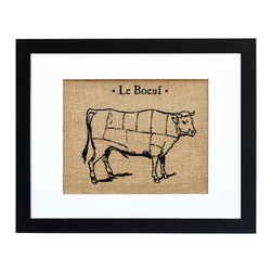 Fiber and Water - Le Boeuf Art - This classic French country-themed print is hand-pressed onto natural burlap like a vintage agricultural sack, giving it an extra dose of rustic nostalgia. Neatly framed in a contemporary black frame and white matte, it would look charming in a French-themed kitchen.