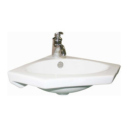 Renovators Supply - Corner Sinks White China Alexander Wall Mount Corner Sink 16'' W | 16684 - Renovators Supply Corner Sinks. Wall mount sink: Made of Grade A vitreous China these sinks endure daily wear and tear. Our protective RENO-GLOSS finish resists common household stains and makes it an EASY CLEAN wipe-off surface. Ergonomic and elegant easy reach design reduces daily strain placed on your body. SPACE-SAVING CORNER design maximizes limited bathroom space. Easy, wall mount installation let's you select from many faucet styles, sold separately. Measures 15 inch along wall x 15 1/4 inch projection