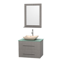 """Wyndham Collection - Centra 30"""" Grey Oak Single Vanity, Green Glass Top, Avalon Ivory Marble Sink - Simplicity and elegance combine in the perfect lines of the Centra vanity by the Wyndham Collection. If cutting-edge contemporary design is your style then the Centra vanity is for you - modern, chic and built to last a lifetime. Available with green glass, pure white man-made stone, ivory marble or white carrera marble counters, with stunning vessel or undermount sink(s) and matching mirror(s). Featuring soft close door hinges, drawer glides, and meticulously finished with brushed chrome hardware. The attention to detail on this beautiful vanity is second to none."""