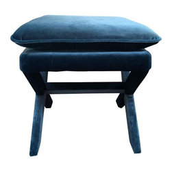 Used Blue Velvet X Bench - This fantastic X-bench has never been used!  We just can't get enough of these beauties. This one is finished in a stunning blue velvet. We have 2 in stock. Contact Support to purchase the pair.