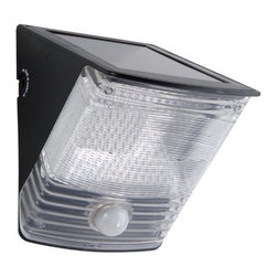 COOPER LIGHTING - Solar LED Motion Light - Durable weather resistant plastic construction. Built in solar panel, fixture is motion activated at night. No wiring necessary, mounts almost anywhere. Equipped with a photocell, turns on only at night. Up to 23' range in a 100 degree arc. Includes light fixture, mounting plate, (2) fixture mounting screws, (2) plastic plugs, (2) keys, (1) key chain and (3) AA Ni-MH rechargeable batteries (installed). Allow solar panel to receive four full days of sunlight with the switch in the off position before turning ng fixture on, or to auto mode to give the batteries a full charge. Color: Black