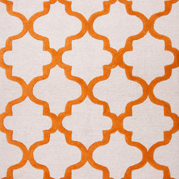 Jaipur Rugs - Modern Geometric Pattern Red/Orange Wool Tufted Rug CT22, 8' x 11' - Over scaled sharp geometrics characterize this striking contemporary range of hand tufted rugs. The high/low construction in wool and art silk creates texture and surface interest and gives a look of matt and shine.