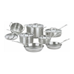 Cuisinart - Multiclad Pro Stainless Steel 12-Piece Cookware Set - The kitchens of France were the inspiration behind the elegant Cuisinart MultiClad Pro Stainless Cookware collection. Cuisinart has included everything you need in this spectacular 12-piece set to perfectly perform all the basic cooking tasks, large or small. From reheating a single portion of soup to preparing appetizers, entrees and side dishes for the entire family, you''ll find every tool you need in this deluxe set. Includes: -1.5 Quart saucepan with cover. -3 Quart saucepan with cover. -3.5 Quart sauté pan with helper handle and cover. -8 Quart stockpot with cover. -8'' skillet. -10'' skillet. -20 cm steamer insert with cover. (fits 3 Quart saucepan). Features: -Cool Grip , riveted stainless steel handle.-Drip-Free pouring rim.-Tightfitting cover seals in moisture and nutrients for healthier, more flavorful results, every time you cook.-Dishwasher safe.-18/10 Stainless steel cooking surface does not discolor, react with food, or alter flavors.-Distressed: No.Warranty: -Limited lifetime warranty.