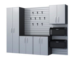 Flow Wall Deluxe Workstation Cabinet Kit with Panels and Soft Bins, Silver - Clean up your garage with functional shelving to keep items neat and tidy.