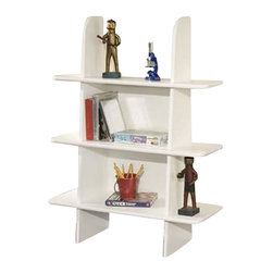 Berg Furniture - Berg Furniture Ladder 3 Shelf Wood Bookcase in White - Berg Furniture - Bookcases - 221494 - This Berg Bookshelf will fit under the Utica Loft collection loft beds or match any Berg Furniture pieces as a standalone unit against a wall.