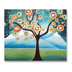 Tree of Life Original Acrylic Landscape Painting - This is a unique, one of a kind, hand painted acrylic painting on canvas. The painting adds character and personality to any contemporary room as well as makes a very unique and special gift for any occasion.