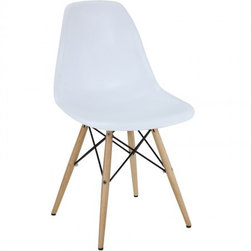 Eames Style Molded Plastic Dowel-Leg Side Chair (DSW) Natural Legs - Charles Eames's DSW (Dining Side Wood chair) Molded Plastic Chair was a winning entry of the Low Cost Design Competition organised by the New York Museum of Modern Art in 1948.