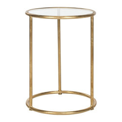 Safavieh - Mariah Accent Table - The circle speaks of everlasting life. And the Mariah Accent Table is a timeless piece for any room. Crafted with gold-finished iron legs and sophisticated clear glass top, its chic style is the perfect complement to contemporary or traditional rooms.