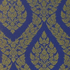 Bijou Coverings - Thai Inspired Damask Pattern Textured Vinyl Wallpaper , Blue - This beautiful Thai inspired inspired textured decorative vinyl wallpaper by Bijou Coverings  can transform a room quickly and easily. In today's world, wallpaper is the hip new approach to cover your walls, a way to express your individuality and personal taste. You can wallpaper all four walls or just even an accent wall. Our patterns consists of being fresh and modern with great textures. We have an option for all tastes. Our wallcoverings are washable for stability and ease of use.