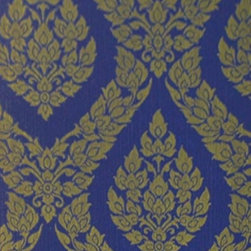 Bijou Coverings - Thai Inspired Damask Pattern Textured Vinyl Wallpaper, Blue - This beautiful Thai inspired inspired textured decorative vinyl wallpaper by Bijou Coverings  can transform a room quickly and easily. In today's world, wallpaper is the hip new approach to cover your walls, a way to express your individuality and personal taste. You can wallpaper all four walls or just even an accent wall. Our patterns consists of being fresh and modern with great textures. We have an option for all tastes. Our wallcoverings are washable for stability and ease of use.
