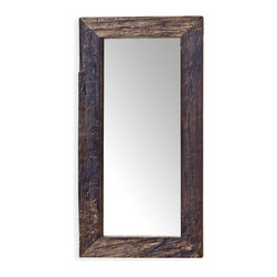 Kathy Kuo Home - Mawson Rustic Lodge Reclaimed Driftwood Rectangle Mirror - You need a mirror that reflects your unabashed nature, the very essence of who you are, in other words; you need a mirror that reflects your soul. This mirror is framed with reclaimed wood providing a raw and edgy look to your inner self as well as adding incredible style to your walls.