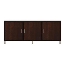 Howard Miller Custom - Blake Cabinet w 3 Panel Doors in Espresso - This cabinet is finished in Espresso on select Hardwoods and Veneers, with Nickel hardware. 3 flat panel doors. 3 adjustable interior shelves. Flat profile top and metal leg base. Hardware: bar pulls on doors. Features soft-close doors and metal shelf clips. Simple assembly required. 70 1/2 in. W x 21 3/4 in. D x 29 1/4 in. H