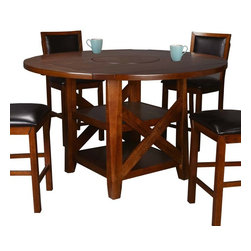 Winners Only - Franklin Round Extension Dining Table with Lazy Susan Multicolor - DFDT4660R - Shop for Dining Tables from Hayneedle.com! Friendly farmhouse charm and oh so handy the Franklin Round Extension Dining Table with Lazy Susan makes family meals easy and fun. This dining table features four 7-inch flip-up sides that convert it from a 46-inch square to a 72-inch round. It features a 20-inch lazy Susan in the center which makes serving a breeze. Two generous shelves below are perfect for nearly anything you want to display or store. This table features thick legs and a rustic X side detail. It's crafted of solid hardwood and acacia veneers in a Dark Oak finish.About Winners Only Inc.Founded in 1988 Winners Only Inc. has been dedicated to quality for well over 20 years. They are an industry leader in manufacturing and distributing quality furniture with great value. Winners Only is based in Vista California. They craft each collection with a focus on beauty durability and lasting finishes. The quality of their bedroom dining home entertainment and office furniture is unparalleled and designed to fit your style.