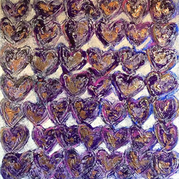 """Rochelle Carr - Original Hand Sculpted Heart Painting """"Purple Heart Parade"""" by Rochelle Carr - Original acrylic painting on wood panel. Sides painted black, so no need to frame. Artist signed/dated front and back. Bio of artist included with shipping."""