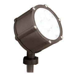 """Kichler - Contemporary Kichler Bronze LED 35 Degree Landscape Accent Light - Put a high-tech lighting solution in your garden. This bright LED light features a die cast aluminum body with a clear tempered glass lens and a polycarbonate threaded mounting stem and locknut for easy installation. A perfect accent light for flower beds or garden pathways. Textured bronze finish. Die cast aluminum body. Polycarbonate mounting stem and locknut. 8.5 watt LED output. Includes 8"""" in-ground mounting stake. Wire to typical low-voltage transformer. 3 1/2"""" wide. 6"""" high. Works as part of a landscape lighting low voltage system.  Textured bronze finish.  Die cast aluminum body.  Polycarbonate mounting stem and locknut.  Design by Kichler lighting.  Includes 8.5 watt LED.  3000K color temperature.  Light output is 360 lumens.  Comparable to a 35 watt incandescent bulb.  Includes 8"""" in-ground mounting stake.  Wire to typical low-voltage transformer.  3 1/2"""" wide.  6"""" high."""