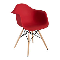 "LexMod - Wood Pyramid Armchair in Red - Wood Pyramid Armchairs are crafted out of molded plastic for the seat and a solid wood ""pyramid"" base. Comfortable and versatile, this chair can be used to decorate any space."