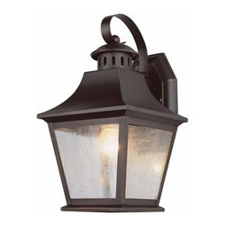Trans Globe Lighting - One-Light Rubbed Oil Bronze Small Outdoor Wall Light - -Seeded glass. Trans Globe Lighting - 4871-ROB