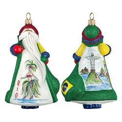 Frontgate - Glitterazzi International Brazil Santa Ornament - Each ornament takes up to 7 days to produce. Constructed of 100% European-made glass. Arrives in a handsome black lacquered box for gifting and safekeeping. Hanger is included for easy display. Our collectible Glitterazzi International Ornament from Joy to the World was created with the utmost attention to quality and detail. The finest artisans in Poland individually mouth blow and hand paint each ornament, achieving new levels of innovation and artistic integrity in their designs. Using only traditional old world production methods and materials sourced from European countries, they ensure that each ornament is an impressive work of art that will be treasured for generations. . . . . Made in Poland.