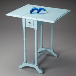 Butler Drop-Leaf Table - Baby Blue - About Butler SpecialtyButler Specialty Company has been designing and manufacturing high-quality occasional and accent furniture since 1930. Each piece reflects Butler's dedication to enduring design, exquisite craftsmanship, and top-quality materials. This family-owned company is based in Chicago. They scour the globe in search of the finest materials and most efficient means of production, reflecting their commitment to providing excellent quality at exceptional value.