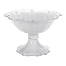 Berry and Thread Footed Compote - Large - Whitewash - A fluted bowl sprinkled with delicately embossed berries sits atop an elegant foot, making the Berry and Thread Footed Compote, a must-have for your summer garden party or autumn affair. Just the right size for a gathering of your favorite fruits. A pleasing addition to your transitional dinnerware collection.