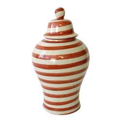 Small Striped Tibor - Show your stripes! This handmade tibor is a traditional Mexican decoration that borrows its shapely silhouette from a ginger jar. It looks fabulous just about anywhere you display it  — from a prominent spot on a shelf to outdoors on the patio. You can even fill it with fresh-cut flowers.