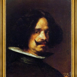 """Diego Velazquez-16""""x20"""" Framed Canvas - 16"""" x 20"""" Diego Velazquez Self Portrait framed premium canvas print reproduced to meet museum quality standards. Our museum quality canvas prints are produced using high-precision print technology for a more accurate reproduction printed on high quality canvas with fade-resistant, archival inks. Our progressive business model allows us to offer works of art to you at the best wholesale pricing, significantly less than art gallery prices, affordable to all. This artwork is hand stretched onto wooden stretcher bars, then mounted into our 3"""" wide gold finish frame with black panel by one of our expert framers. Our framed canvas print comes with hardware, ready to hang on your wall.  We present a comprehensive collection of exceptional canvas art reproductions by Diego Velazquez."""