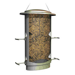 Classic Brands LLC - Squirrel-Proof X-1 Seed Feeder - Squirrel proof feeder in satin nickel finish, wide mouth capacity for easy filling, 4 feeding ports