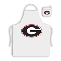 Sports Coverage - Georgia University Bulldogs Tailgate Apron and Mitt Set - Set includes your favorite collegiate Georgia University Bulldogs screen printed logo apron and insulated cooking mitt. White apron with white silver backed mitt. Both items are logoed. Tailgate Kit apron and mit is 100% cotton twill with screenprinted logo.