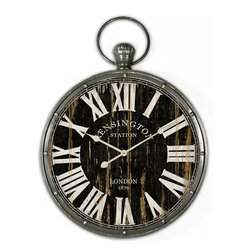 "YOSEMITE HOME DECOR - 18 in. Pendant Iron Wall Clock and MDF back plate - This large wall clock is cleverly crafted like an old-world pocket watch.  Attention to detail shows in the black distressed finish with white roman numeral markers, along with the ""Kensington Station"" and ""London 1879"" detailing to make the look as authentic as possible."