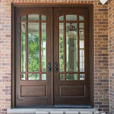 Wood Front Entry Doors in-Stock   Double Door, Clear Beveled Glass/ W Praise Gri