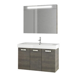 ACF - 37 Inch Grey Oak Bathroom Vanity Set - Complete your decorative personal bath with this high-quality bathroom vanity from ACF. This contemporary, very high quality bath vanity is manufactured in Italy with engineered wood and mirrored glass and ceramic and available in grey oak. From the ACF C