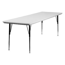 Flash Furniture - Height Adjustable Rectangular Granite White Plastic Activity Table - This waterproof and stain resistant rectangular blow molded table was designed to last throughout the years. This table can be used for a range of things from the classroom, training room or any casual function. This lightweight table is height adjustable to accommodate all users. Self-leveling floor glides prevent wobbling and will keep your work surface level.