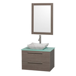 Wyndham - Amare 30in. Wall Vanity Set in Grey Oak w/ Green Glass Top & Carrera Marble Si - Modern clean lines and a truly elegant design aesthetic meet affordability in the Wyndham Collection Amare Vanity. Available with green glass or pure white man-made stone counters, and featuring soft close door hinges and drawer glides, you'll never hear a noisy door again! Meticulously finished with brushed Chrome hardware, the attention to detail on this elegant contemporary vanity is unrivalled.
