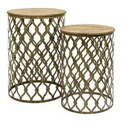 Open weave Metal and Wood Nesting Tables - Set of 2 - *Maximize small spaces add simple geometric pattern with this set of two Maridell nesting tables.