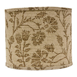 "Lamps Plus - Transitional Muted Brown Floral Drum Lamp Shade 14x14x11 (Spider) - A drum lamp shade in a soft brown floral design. A cotton exterior features an inner polystyrene lining. The correct size harp is included. Hardback lamp shade. Soft brown floral design. Drum shade. Chrome spider fitter. Cotton material. Unlined. 1/2"" fitter drop. 14"" across the top and bottom. 11"" high. Made in USA.   Hardback lamp shade.  Soft brown floral design.  Drum shade.  Chrome spider fitter.  Cotton material.  Unlined.  Made in USA.  1/2"" fitter drop.  14"" across the top and bottom.  11"" high."