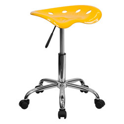 Flash Furniture - Flash Furniture Vibrant Orange-Yellow Tractor Seat and Chrome Stool - On the market for a stool but want to add a little color to your home or office? This sleek, modern stool conforms to several areas in the home or office. The molded tractor seat offers great comfort. The small frame design of this backless stool makes it easy to maneuver around tight spaces with ease. This stool can be used for a variety of reasons other than just at a desk and is offered at a very affordable price. [LF-214A-YELLOW-GG]