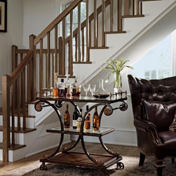 Rivoli Collection - Marge Carson's Rivoli Bar Cart. also shown is the Marge Carson Chandler Chair.