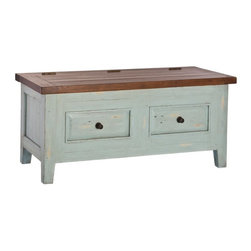 Hillsdale - Hillsdale Tuscan Retreat Blanket Box - 5465-790W - Shop for Trunks and Chests (not dressers) from Hayneedle.com! Keep cozy items and other necessities within an arm's reach with the help of the multi-functional beauty of the Hillsdale Tuscan Retreat Blanket Box. Crafted of hand-finished new and restored wood this charming blanket box can be used to keep clutter under control and as a decorative accent to add some cottage-chic style to your space. Its contrasting hinged lid lifts to reveal a spacious interior ideal for soft goods and other small items. Two faux drawer fronts add character and complete the look of this lovely piece.About Hillsdale FurnitureLocated in Louisville Ky. Hillsdale Furniture is a leader in top-quality affordable bedroom furniture. Since 1994 Hillsdale has combined the talents of nationally recognized designers and globally accredited factories to bring you furniture styling and design from around the globe. Hillsdale combines the best in finishes materials and designs to bring both beauty and value with every piece. The combination of top-quality metal wood stone and leather has given Hillsdale the reputation for leading-edge styling and concepts.