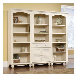 Sauder - Sauder Harbor View Library Wall Bookcase in Antiqued White - Sauder - Bookcases - 1580821580853PKG