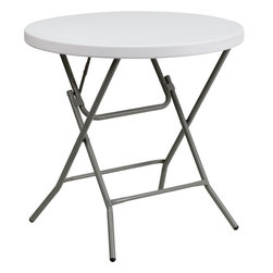 Flash Furniture - Flash Furniture 32'' Round Granite White Plastic Folding Table - This unique commercial grade table can be used in banquet halls, cafeterias, or in the home. This table is a great solution for temporary seating for gatherings. Flash Furniture's 32'' Round Folding Table features a durable stain resistant blow molded top and sturdy frame. The blow molded top requires low maintenance and cleans easily. The table's legs lock in place in a SNAP with the leg locking system for easy set-ups.