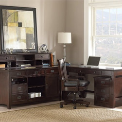 Steve Silver - Steve Silver Teton L-Shaped Desk with Hutch - Merlot - SSC2138 - Shop for Desks from Hayneedle.com! The Steve Silver Teton L-Shaped Desk with Hutch - Merlot is a handsome way to outfit your classic home office space. This desk and hutch combo has bold mission style and plenty of storage space. It's made of poplar solids engineered wood and ash veneers in a rich merlot finish. Mission style black metal bail pulls add charm. A variety of drawers open cubby spaces and enclosed space are there to keep things tidy. The hutch adds open storage and two handy drawers. An optional rolling chair and filing cabinet make it complete.Product Dimensions:Desk Corner Table: 26W x 26D x 31H in.Writing Desk: 56W x 26D x 31H in.Credenza: 60W x 26D x 31H in.Hutch: 60W x 10D x 12H in.Optional Chair: 22W x 22D x 38H in.Optional File Cabinet: 22W x 18D x 24H in.About Steve SilverSince its founding in Forney Texas in 1987 the Steve Silver Company has had a simple focus: to provide the best quality product at an irresistible price back it up with uncompromising service and continue to improve every day. As one of the premier suppliers of dining sets and occasional furniture in the country Steve Silver is proud to make you the customer its top priority utilizing state-of-the-art equipment proven operating procedures and over 500 000 square feet of facilities. You'll feel equally proud displaying furniture from the Steve Silver Company in your home.