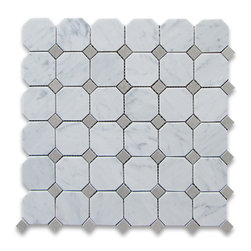 "Stone Center Corp - Carrara Marble Octagon Mosaic Tile Gray Dots 2 inch Polished - Carrara White Marble 2"" octagon pieces and Bardiglio Gray marble mounted on 12""x12"" sturdy mesh tile sheet"