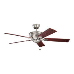 "Kichler - Duvall 52"" Ceiling Fan Antique Pewter - Kichler Duvall Model KL-300178AP in Antique Pewter with Reversible Cherry/Dark Cherry Finished Blades."